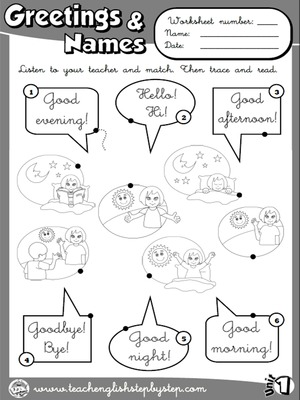 Greetings and Names - Worksheet 1 (B&W version)
