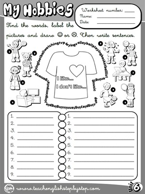 Hobbies / Likes and Dislikes - Worksheet 1 (B&W version)