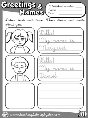 Greetings and Names - Worksheet 5 (B&W version)