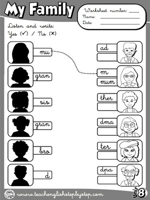 My Family - Worksheet 4 (B&W version)
