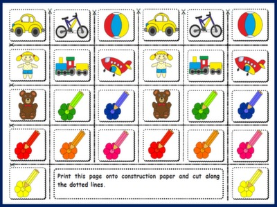 #TOYS AND COLOURS - BOARD GAME PICTURE CARDS