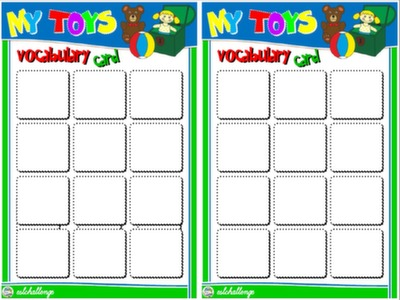 #TOYS AND COLOURS - BOARD GAME VOCABULARY CARDS