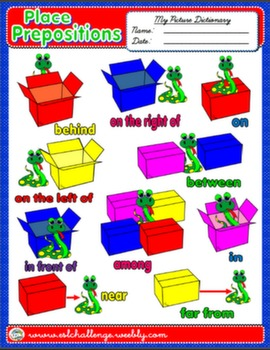 PLACE PREPOSITIONS PICTURE DICTIONARY AVAILABLE IN B&W