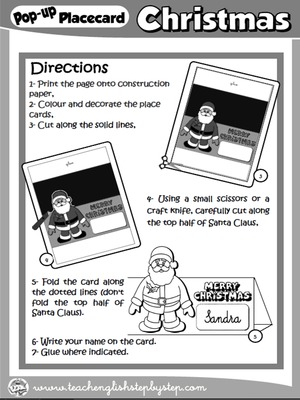 CHRISTMAS POP-UP PLACEMENT CARD (DIRECTIONS - B & W VERSION)