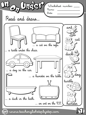 Place Prepositions - Worksheet 3 (B&W version)