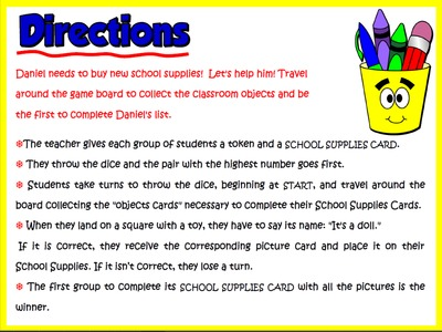 At School - Board Game (Directions)