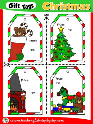 CHRISTMAS GIFT TAGS - SET 2 (B & W VERSION)