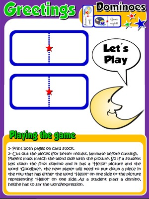 Greetings and Names - Set of Dominoes - Directions