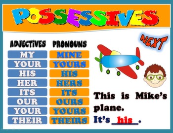 POSSESSIVES PPT GAME + PRESENTATION