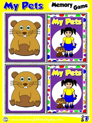 My Pets - Memory Game Cards (Picture - Picture)