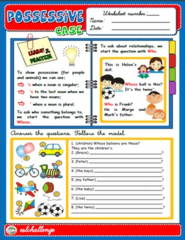 POSSESSIVE CASE - STUDY WORKSHEET + EXERCISES