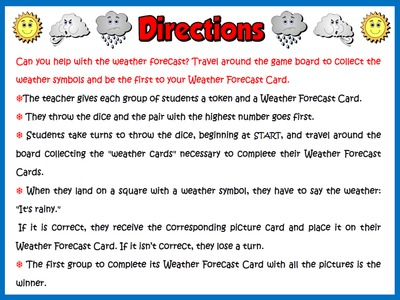 The Weather - Board Game (Directions)