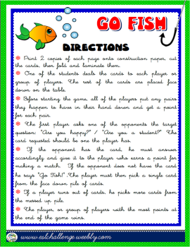 Go fish games teach english step by step for Go fish cards