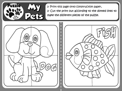 My Pets - Puzzles (Set of 9 puzzles- B&W version)