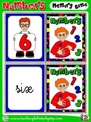 Numbers - Memory Game Cards