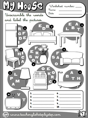 My house - Worksheet 7 (B&W version)