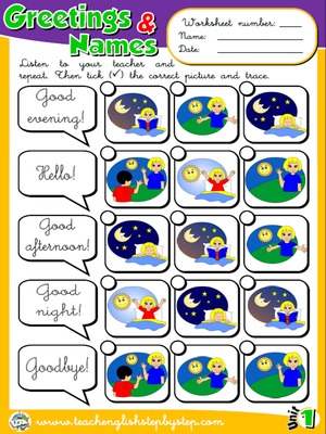 Greetings and Names - Worksheet 3