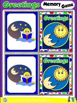Funtastic english 1 1st graders teach english step by step greetings and names memory game cards picture picture m4hsunfo