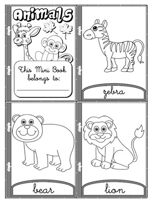Animals - Colouring Mini Book