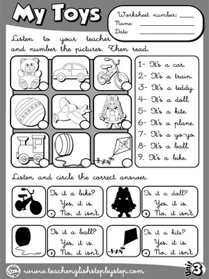 My Toys - Worksheet 5 (B&W version)
