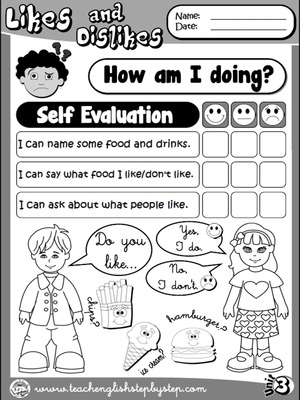 Likes and Dislikes - Self Evaluation (B&W version)