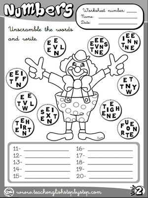 Numbers - Worksheet 4 (B&W version)