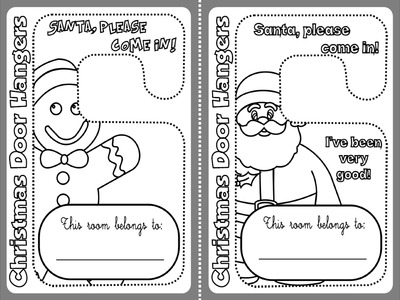 CHRISTMAS DOOR HANGERS (B & W VERSION)