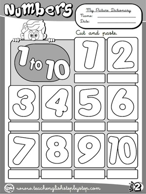 Numbers (1 to 10) - Picture Dictionary (B&W version)