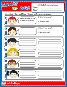 NAMES AND AGE WORKSHEET