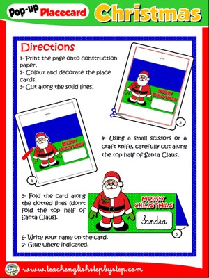CHRISTMAS POP-UP PLACEMENT CARD (DIRECTIONS)