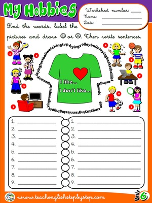 Hobbies / Likes and Dislikes - Worksheet 1