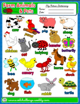 FARM ANIMALS & PETS PICTURE DICTIONARY AVAILABLE IN B&W