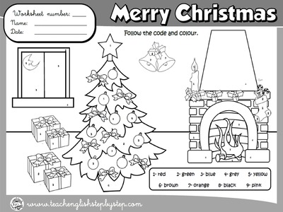 CHRISTMAS  COLOURING WORKSHEET (B&W VERSION)