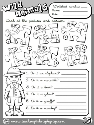 Wild Animals - Worksheet 3 (B&W version)
