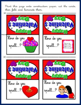 VALENTINE'S DAY - BOARD GAME SPELLING CARDS#