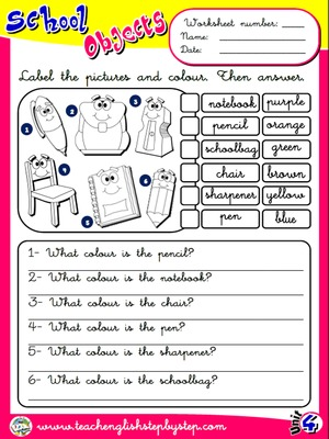 School Objects - Worksheet 7