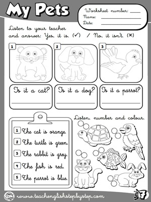 My Pets - Worksheet 5 (B&W version)