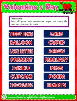 VALENTINE'S DAY MATCHING GAME (CUTOUTS)#