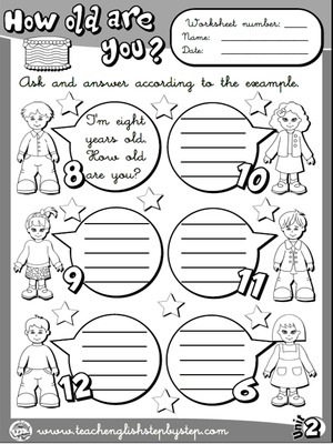 Age - Worksheet 2 (B&W version)