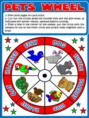 My Pets - Vocabulary Wheel - page 1
