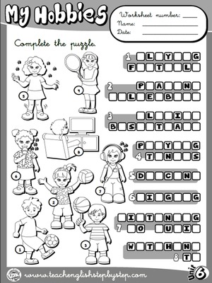 Hobbies - Worksheet 2 (B&W version)