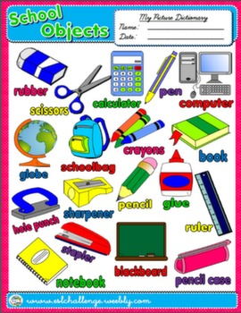 SCHOOL OBJECTS PICTURE DICTIONARY AVAILABLE IN B&W