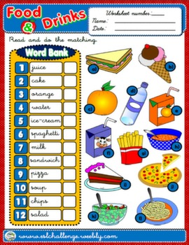 FOOD & DRINKS WORKSHEET