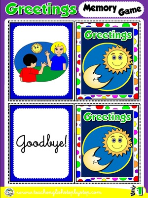 Greetings and Names - Memory Game Cards (Picture - Word)