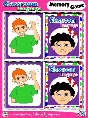 Classroom Language - Memory Game  Cards (Picture - Picture)
