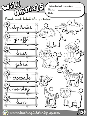 Wild Animals - Worksheet 2 (B&W version)