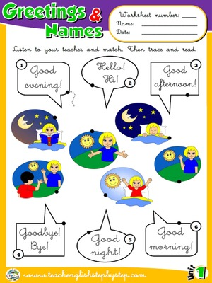 Funtastic english 1 1st graders teach english step by step greetings and names worksheet 1 m4hsunfo