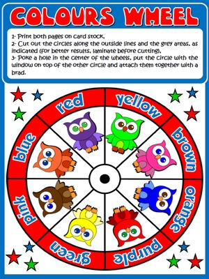 Colours - Vocabulary Wheel - page 1
