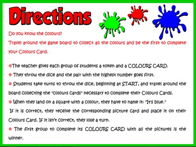 Colours - Board Game (Directions)