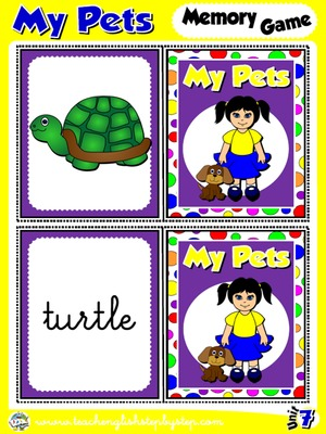 My Pets - Memory Game Cards (Picture - Word)